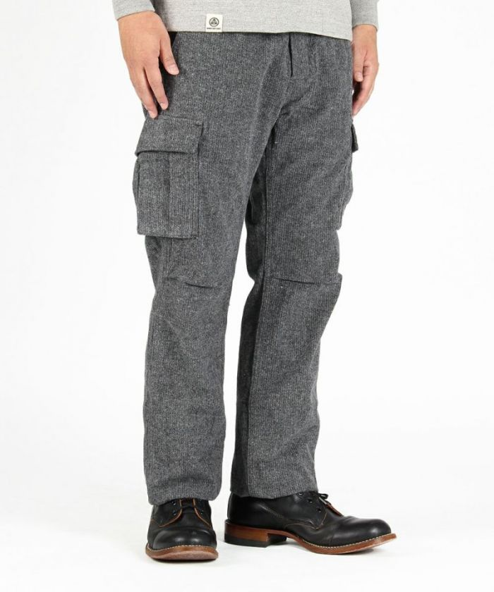 01-059 Tweed Herringbone Cargo Pants