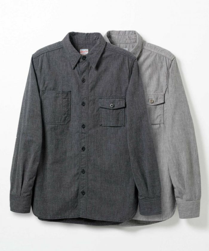 05-214 Twisted Heather Chambray Work Shirt (Black/Gray)