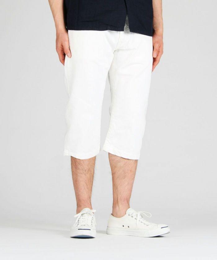 02-060 White Denim Going To Battle Label (GTB) Cropped Shorts