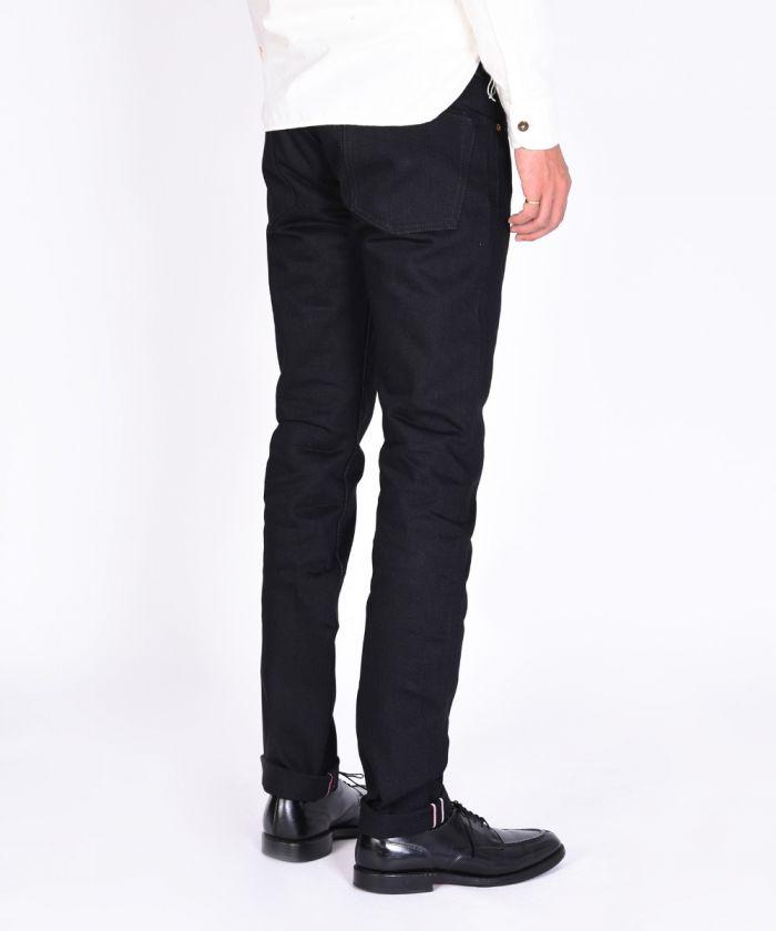 0306-B 15.7oz Selvedge Black Denim Tight Tapered Jeans (Non Wash)