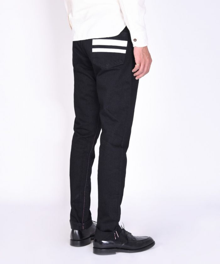B0105SP Departure Black Denim Narrow Tapered (Button Fly) ≪28in ~ 36in≫
