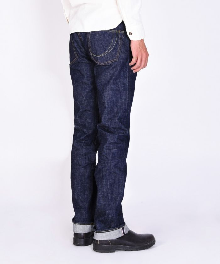 G007-MB 14.7oz Zimbabwe Cotton Old Blue Denim Copper Label Tight Straight Jeans (Button Fly)